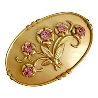 Czech, Vintage, Gold Plated Brass, Pink Glass, Sash Pin