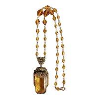 Czech, Neiger, Vintage, Amber-Color Glass, Filigree Brass, Art Deco Necklace