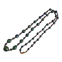 Czech, Vintage, Green and Multi-Colored Spatter Glass, Flapper, Beaded Necklace