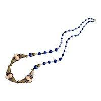 Vintage, Czech, Neiger, Dark Blue Glass, Silver-Plated Brass, Triple-Cameo Necklace