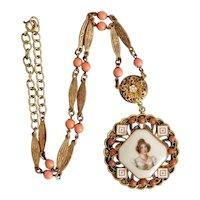 Neiger, Czech, Vintage, Lady Portrait, Enamel, Brass Filigree, Coral-Color Glass, Necklace