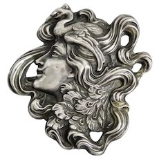 Art Nouveau, Unger, Hallmarked, Lady with Peacock, Large Sterling Brooch