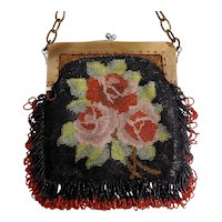 Beaded Vintage Purse, Roses, Black, Red, Pink, Green and Gold Beading, Celluloid Frame and Chain