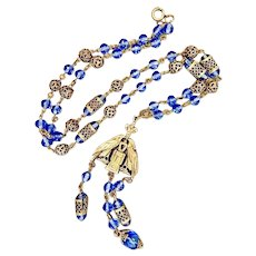 Czech, Neiger, Vintage, Blue Glass, Egyptian Revival, Double Sided Bird Necklace