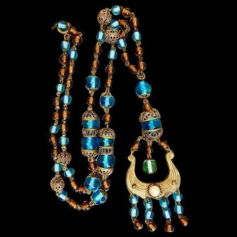 Neiger, Czech, Brass Harp Scroll Lyre Design, Green Glass and Brass Filigree Beads Necklace