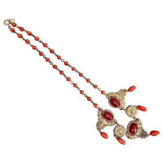 Czech, Neiger, Red, and Burgundy Glass, and Brass Necklace