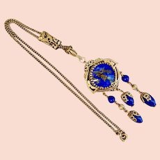 Rare Max Neiger Czech Double Sided Gold Plated Dragon Blue Bolo