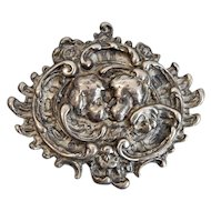 "William B. Kerr, Sterling, Victorian, ""Kissing Cherubs"" Brooch"