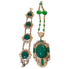 Neiger, Czech, Art Deco, Green Glass and Enamel Necklace and Bracelet Set
