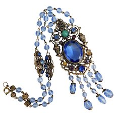 Neiger, Czech, Vintage, Blue Glass, Victorian Revival Style Necklace