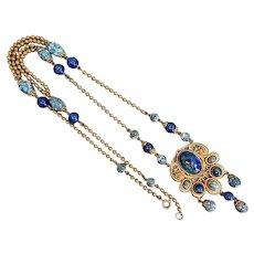 Czech, Neiger, Vintage, Blue Art Glass, Russian Gold Plated, Sautoir Necklace