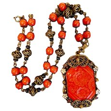 Czech, Neiger, Art Deco, Red Floral Molded Glass Necklace