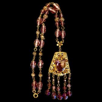 Czech, Neiger, Victorian Revival, Floral Filigree, Purple Glass Necklace