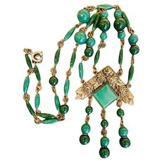 Czech, Neiger, Victorian Revival, Green Glass, and Brass Necklace