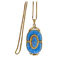 Czech, Neiger Blue Molded Glass Pendant and Brass Chain
