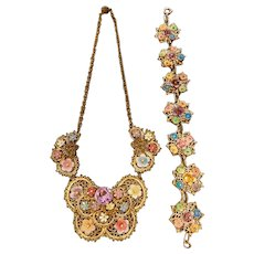 Czech, Enamel Flower, Multi-colored Butterfly Necklace and Bracelet Set