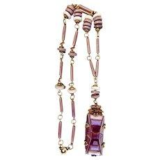 Czech, Neiger, Vintage, Art Deco, Purple and Lavender Glass necklace