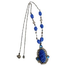 Czech, Neiger, Silver Plated Brass, Blue Flower Molded Glass Necklace