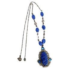 Czech, Neiger, Silver Plated Brass, Blue Flower Molded Glass Necklace