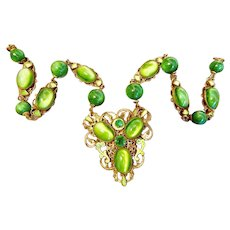 Czech, Neiger, Green Glass, Brass, and Lime Green Enamel Necklace
