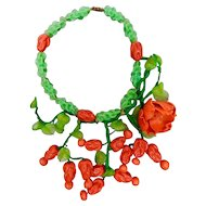 Louis Rousselet, French, Hand Made, Poured Glass, Red and Green, Flower Necklace
