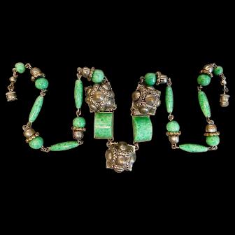 Neiger, Czech, Peking Glass, Art Deco, and Silver Plated Brass Necklace