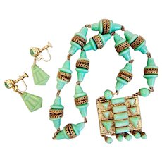 Neiger, Czech, Deco, Jade Glass Necklace and Earrings