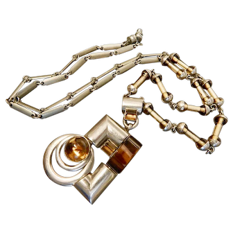 Art Deco, Chrome Plated, Amber Glass Necklace