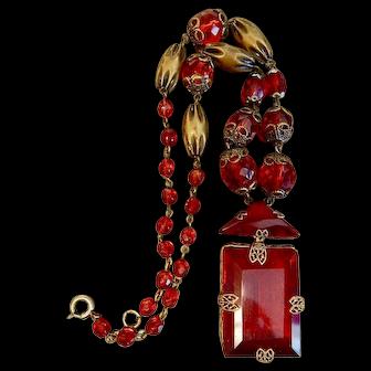 Czech, Neiger, Ruby Red Glass, Filigree, Art Deco Necklace