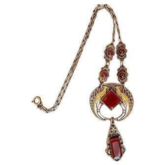 Czech, Neiger, Peacock, Brass, and Carnelian Glass Necklace