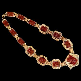 Vintage, Czech, Carnelian, Molded Glass Necklace