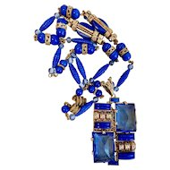 Max Neiger, Czech, Cobalt Blue Glass, and Brass Art Deco Necklace