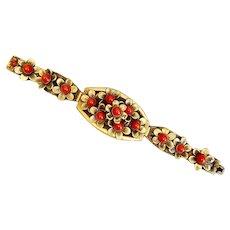 Neiger, Czech, Red Glass, Brass, Flower Bracelet