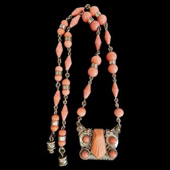 Czech, Neiger, Vintage, Coral Glass, Silver Plated Filigree Brass Necklace