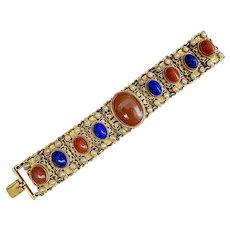 Czech, Neiger, Vintage, Blue and Reddish Glass, Simulated Pearl, Filigree Brass Bracelet