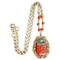 Czech, Neiger, Vintage, Orange Molded Glass, and Filigree Brass Necklace