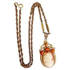 Czech, Neiger, Orange Glass, Cameo, Necklace on Brass Chain
