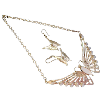 Vintage Sterling Silver Signed S. Dickens Pearly Pink Butterfly Necklace and Earring Set