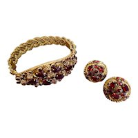 Czech, Reddish Glass, Vintage, Brass Filigree, Bracelet and Earrings Set