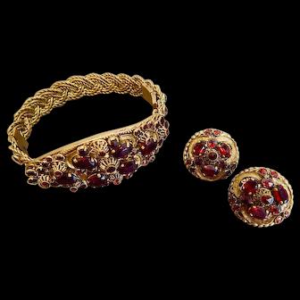 Czech, Garnet Glass, Vintage, Brass Filigree, Bracelet and Earrings Set