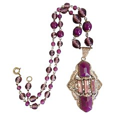 Czech, Neiger, Lavender and Purple Glass Art Deco, Silver Plated Necklace