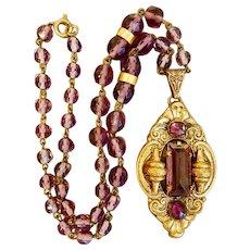 Max Neiger, Czech, Vintage, Purple Glass, Art Deco, Brass Necklace