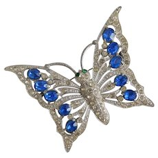 Large Staret Schrager Butterfly, Blue Glass, Deco Brooch