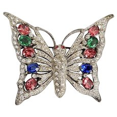 Large Staret Schrager Butterfly, Multi-colored Glass, Deco Brooch