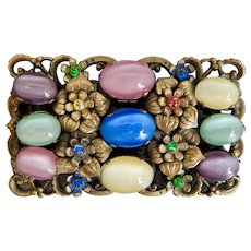 Czech, Neiger, Floral, and Pastel Colored Moonstone Glass Brooch