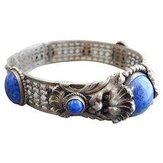 Czech, Neiger, Silver Plated, Blue Lion Cuff Bracelet