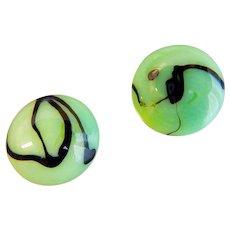 Louis Rousselet, French, Green Glass, Clip Earrings