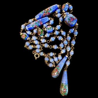 Neiger, Czech, Vintage, Wedding Cake Beads, Blue Necklace