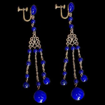 Czech, Cobalt Blue Glass, and Brass, Screw Back Earrings