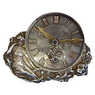 Art Nouveau Lady Antique Clock Brooch